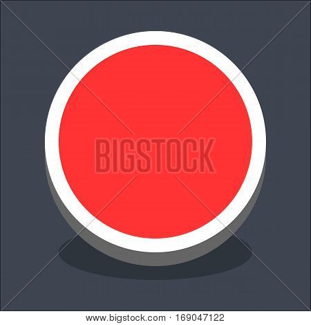 Use it in all your designs. Flat web internet circle button with oval shadow in 3D style. Hover variant. Quick and easy recolorable shape. Vector illustration a graphic element