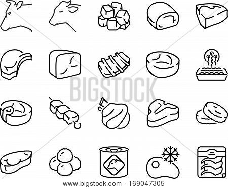 Different types of beef and veal thin line icon set black color isolated