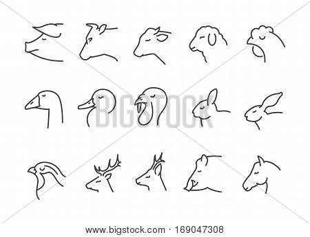 farm animals and hunt thin line icons isolate black color