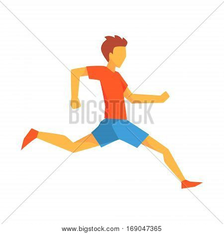Man Landing On Right Leg, Male Sportsman Running The Track In Red Top And Blue Short In Racing Competition Illustration.