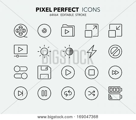 Set of interface line icons. Contains icons as movies ui buttons cd switch battery and more. Editable stroke. 64x64 Pixel Perfect.
