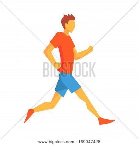 Man Jogging In Slow Pace, Male Sportsman Running The Track In Red Top And Blue Short In Racing Competition Illustration.