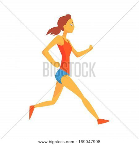 Woman Slowly Running Warming Up, Female Sportsman Running The Track In Red Top And Blue Short In Racing Competition Illustration.
