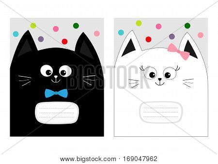 Notebook cover Composition book template. Black White cat kitty head with bow. Cute cartoon character set. Pet baby collection Card. Flat design. Gray background Colorful dot. Vector illustration.