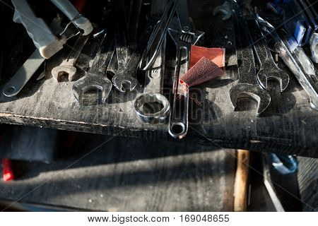 Small workroom with architecture dummy manufacturing tools poster