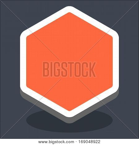 Use it in all your designs. Flat web internet hexagon button with oval shadow in 3D style. Hover variant. Quick and easy recolorable shape. Vector illustration a graphic element