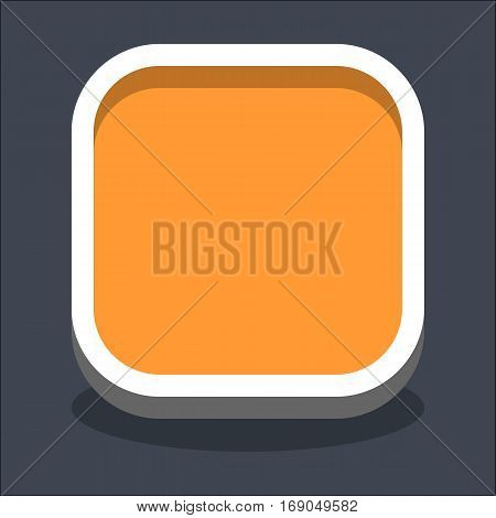 Use it in all your designs. Flat web internet square button with oval shadow in 3D style. Clicked variant. Quick and easy recolorable shape. Vector illustration a graphic element