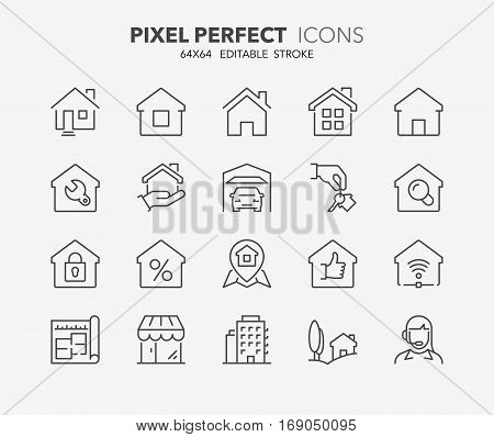 Set of real estate and homes thin line icons. Contains icons as area hand holding key smart home contact and support apartments and more. Editable stroke. 64x64 Pixel Perfect.