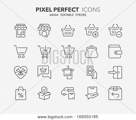 Set of e-commerce and shopping thin line icons. Contains icons as mobile shop shopping cart testimonials shipping and delivery fashion and more. Editable stroke. 64x64 Pixel Perfect.