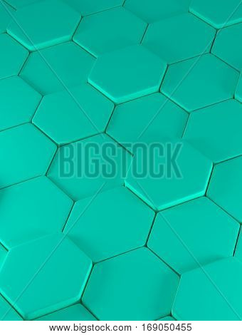 Abstraction consisting of plurality convex green polygons - 3D
