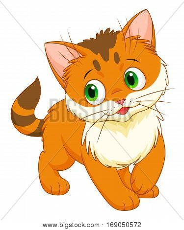 Cute cartoon chinchilla kitten on the white background.