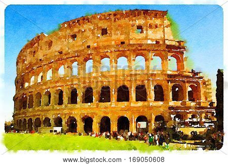 Digital watercolour of Colosseum in Rome with thousands of tourists each year visiting in Rome, Italy,