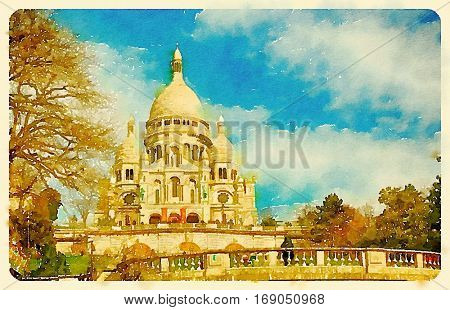 Digital watercolour of Sacre-coeur basilica in Montmartre, Paris in France