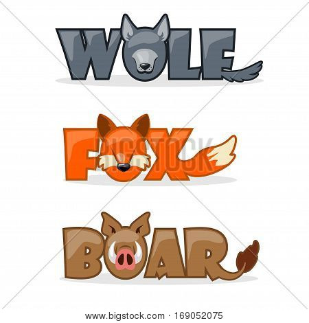 cute cartoon forest wild animals, funny text name boar, wolf and fox