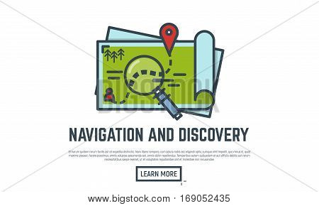 Navigation and discovery thin line vector illustration. Opened map with route and marker. Magnifying glass.
