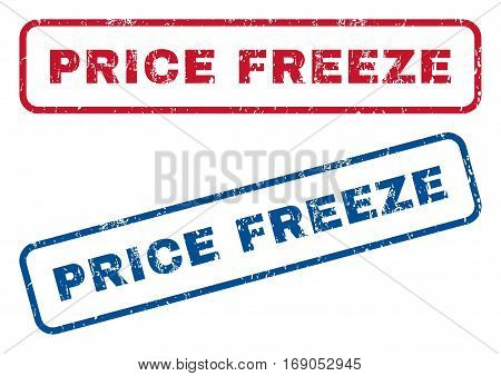 Price Freeze text rubber seal stamp watermarks. Vector style is blue and red ink caption inside rounded rectangular shape. Grunge design and unclean texture. Blue and red emblems.