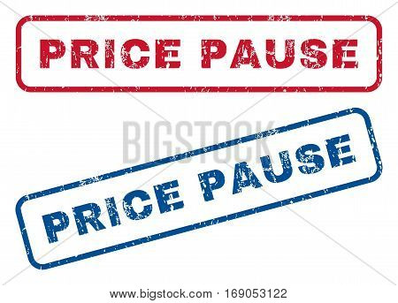 Price Pause text rubber seal stamp watermarks. Vector style is blue and red ink caption inside rounded rectangular shape. Grunge design and unclean texture. Blue and red emblems.