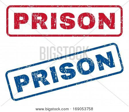 Prison text rubber seal stamp watermarks. Vector style is blue and red ink tag inside rounded rectangular banner. Grunge design and dirty texture. Blue and red stickers.