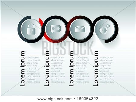Abstract 3D circular digital illustration Infographic. Vector illustration can be used for workflow layout diagram number options web design. Vector illustration set infographics. Template for brochure business web design