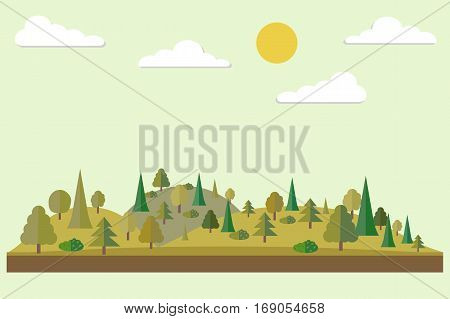 Forest in flat style. Autumn forest. Wildlife. Eco lifestyle. Forest view. Vector illustration