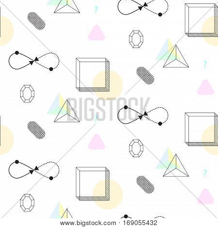 Infinity shape and cubes nineties seamless vector pattern. Abstract shapes, color blocks and elements in eighties fashion style. Triangles on white.