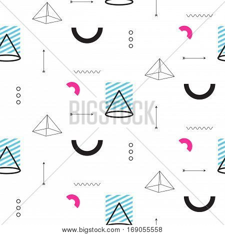 Retro triangles in 90s style seamless vector pattern. Abstract shapes, color blocks and elements in eighties fashion design. Geometry lines on white.