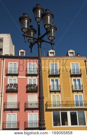 Burgos (Castilla y Leon Spain): facade of historic buildings with balconies in the Plaza Mayor