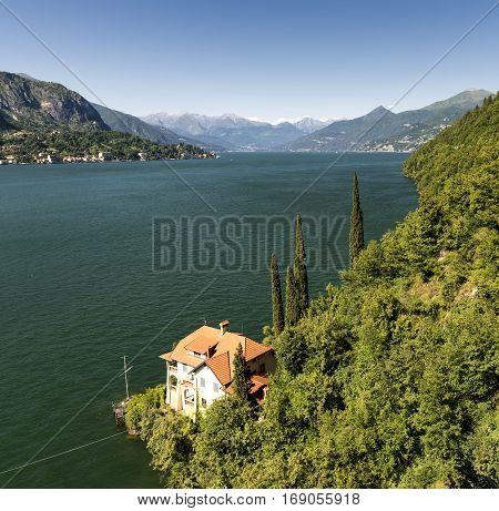 Lake of Como (Lario Lombardy Italy) near Bellagio. Landscape at summer
