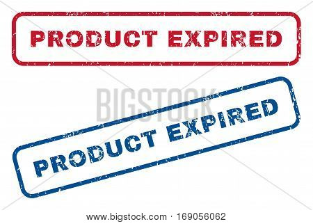 Product Expired text rubber seal stamp watermarks. Vector style is blue and red ink tag inside rounded rectangular banner. Grunge design and dirty texture. Blue and red stickers.