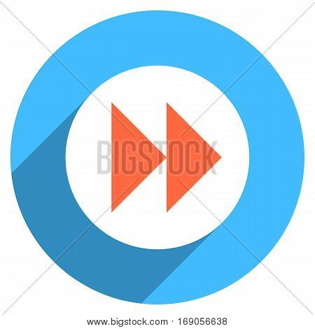 Use it in all your designs. Arrow sign forward or backward icon in circular shape. Multimedia audio video movie interface button in flat long shadow. Vector illustration a graphic element for design