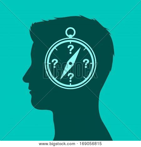 Conceptual icon of a compass in a head with question marks in place of directions vector illustration