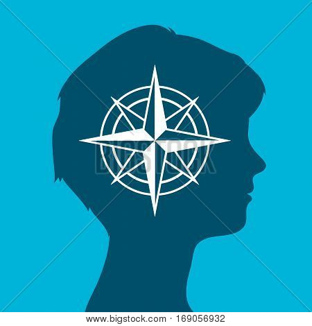 Sign of an isolated female head silhouette icon with a compass rose vector illustration