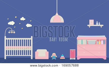 Vector illustration of newborn room interior design: craddle lamp armchair doll nesting blocks diaper pail baby changing table with chest drawers and a shelf.