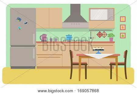Cozy kitchen interior. Fridge microwave oven dinner table. Flat vector illustration.
