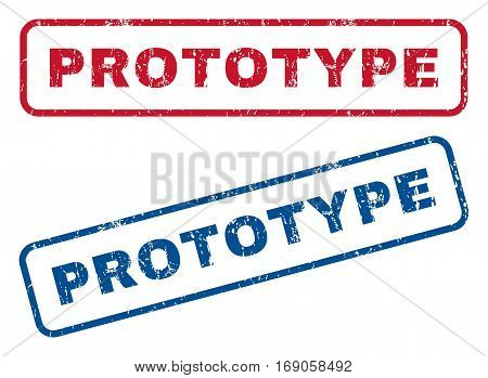 Prototype text rubber seal stamp watermarks. Vector style is blue and red ink caption inside rounded rectangular banner. Grunge design and unclean texture. Blue and red emblems.