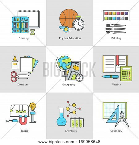 The conceptual contour set flat icons of school subjects. Modern vector illustration Icons for education. School supplies and tools on natural sciences, mathematics, creativity and physical education