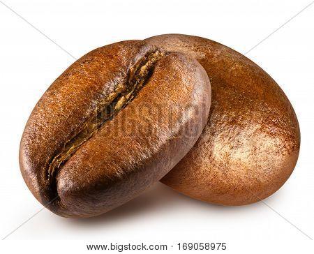 Shiny fresh roasted two coffee beans isolated on white background.