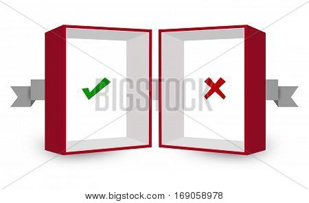Right Wrong Sign Inside Red and White 3D Box on White Background