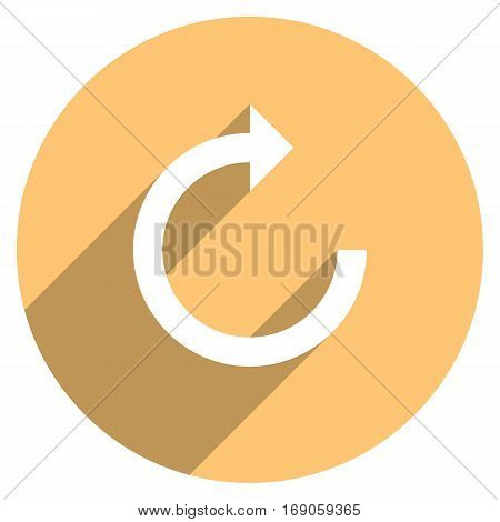 Use it in all your designs. Arrow sign reload, refresh, rotation, loop, repetition, reset icon in circular web internet button in flat long shadow style. Vector illustration a graphic design element