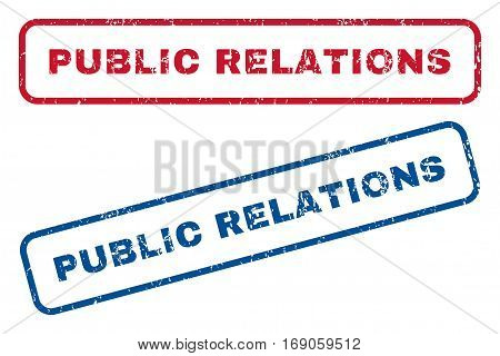 Public Relations text rubber seal stamp watermarks. Vector style is blue and red ink tag inside rounded rectangular shape. Grunge design and dirty texture. Blue and red emblems.