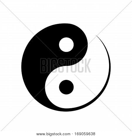 Black and white Yin Yang symbol symbolising harmony unity balance male and female positive and negative in Chinese philosophy vector illustration