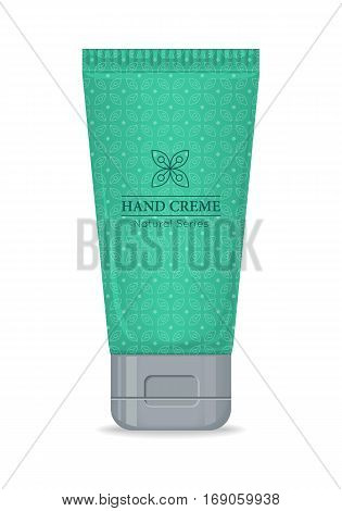 Hand cream natural series bottle isolated. Cosmetic product flasks with logo or symbol on the nameplate. Reservoir with label. Part of series of decorative cosmetics items. Vector illustration