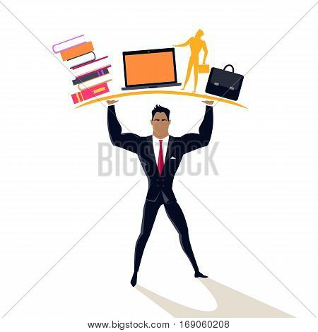 Businessman posing as telamon. Professional support concept design flat style. Business professional support, work success, consultant man hand help, businessman organization management and occupation