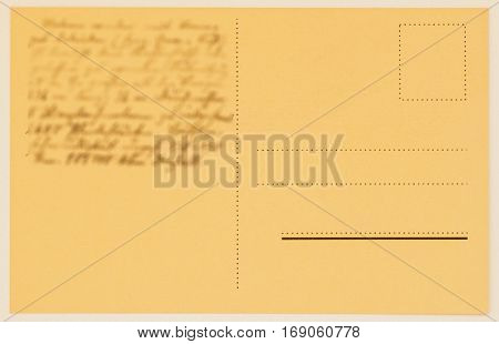 reverse side of a postage card with written text, congratulations. For background, backdrop and design of
