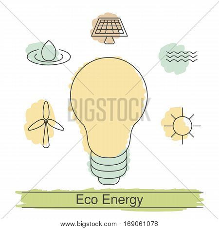 Ecology illustration with eco icons. Concept of ecology and green energy.