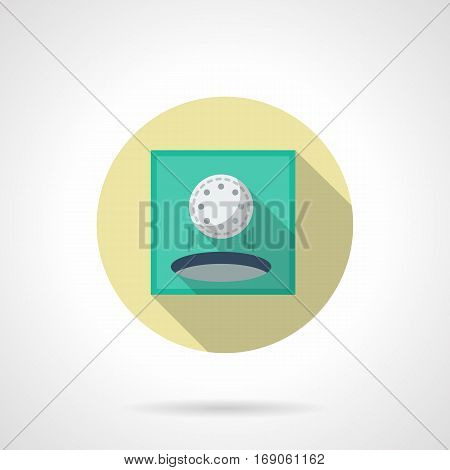 Hole in one symbol. White golf ball falling in target, good shot for score. Golfing concept. Individual sport and activity leisure. Round flat design vector icon.