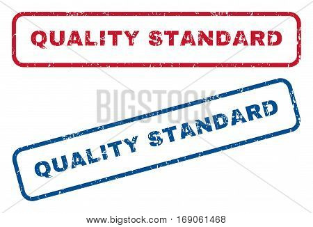 Quality Standard text rubber seal stamp watermarks. Vector style is blue and red ink tag inside rounded rectangular shape. Grunge design and scratched texture. Blue and red emblems.