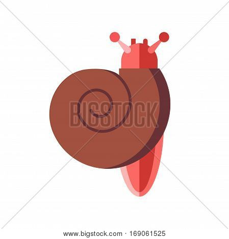 Garden wildlife snail isolated on white. Fun invertebrate wet mucus pest. Spiral slimy brown nature gastropod animal vector illustration.