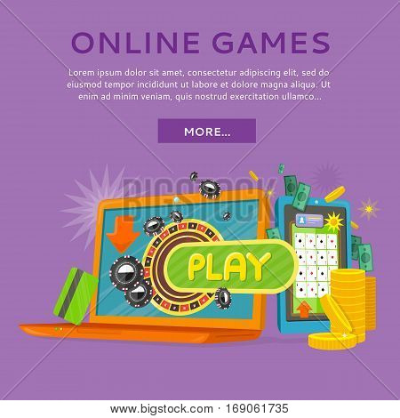 Online casino on screen of tablet computer and laptop. Online gambling games of fortune entertainment casino. Tablet games icon. Mobile game app. Online poker. Vector illustration in flat style.