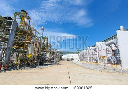 Pipelines Industrial power plant with blue sky